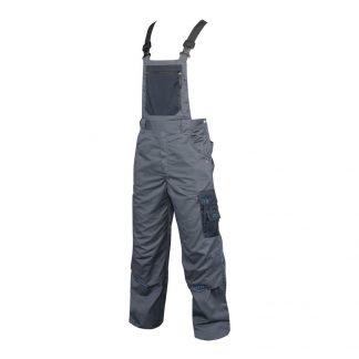 Delovne hlače 4TECH z oprsnikom sivo-črne