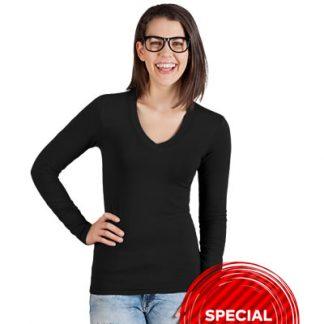 Majica T-shirt V-izrez dolgi rokav Ženska 3360